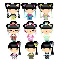 Kokeshi Doll Art for 1500 free paper dolls, go to my website Arielle Gabriel's The International Paper Doll Society...