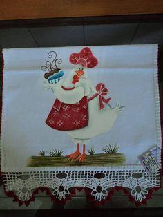 Pano de prato com pintura de galinha.Faço da cor da sua preferência! (tecido usado é o de sacaria da Estilotex).