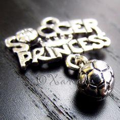 3PCs Soccer Princess Wholesale Silver Plated Pendant Charms - C2083