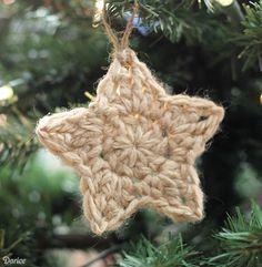 Simple Crochet Star Pattern Christmas Ornaments