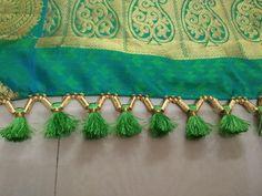 Saree Tassels Designs, Saree Kuchu Designs, Simple Blouse Designs, Stylish Blouse Design, Saree Border, Diy Wedding Flowers, Blue Bedroom, Peacock Blue, Beautiful Saree
