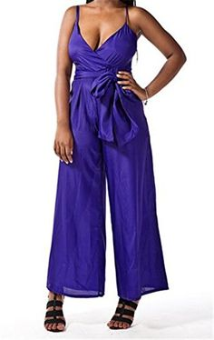 YUNY Womens Vneck Belt Pockets Slim Wide Leg Tank Jumpsuits Purple Small *** Click on the image for additional details.
