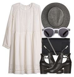 """""""Untitled #5621"""" by laurenmboot ❤ liked on Polyvore featuring Yves Saint Laurent, Topshop, MANGO and Illesteva"""