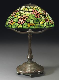 AN APPLE BLOSSOM TABLE LAMP, CIRCA 1910