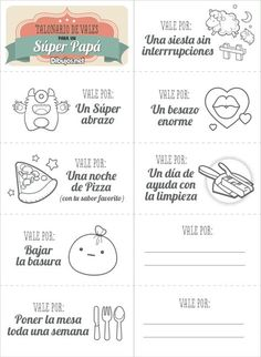 Talonario de Vales del Día del Padre Fathers Day Crafts, Happy Fathers Day, Diy Gifts For Boyfriend, Gifts For Him, Disney Christmas Decorations, Happy Birthday Mom, Love Box, Diy Crafts Hacks, Bullet Journal Ideas Pages