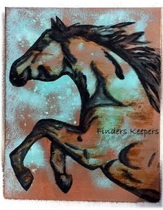Horse stencil on canvas using Modern Masters and Annie Sloan paints #horses