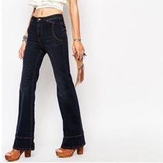 NWOT Free People jeans What can I say, they are perfect These are brand new, never worn..too long for me☹️ Cotton and spandex blend Free People Jeans Flare & Wide Leg
