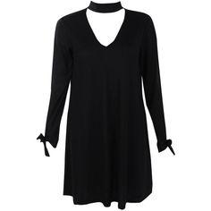 Boohoo Leila Choker Sleeve Detail Rib Knit Swing Dress | Boohoo ($26) ❤ liked on Polyvore featuring dresses, rib knit dress, sleeved dresses, tent dress, ribbed knit dress and boohoo dresses