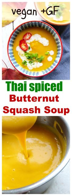 Thai spiced butternut squash soup is a healthy , flavorful and heart warming soup which is ready in minutes. Make ahead of time and freeze it to enjoy all year long. Gluten free and vegan. Freezer friendly.