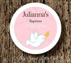 Baptism label - baptism sticker - pink baptism cupcake topper -  baptism favor tag - baptism printable - girl baptism tag - dove baptism