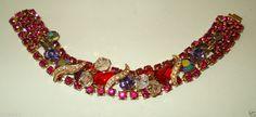 Vintage Kramer NY Signed Aurora Borealis Rhinestone & A/B Dangle Bead Bracelet