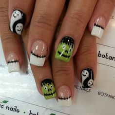 Best 16 Simple Ghost Nail Designs For Halloween – Top New Easy Home Manicure - Bored Fast Food Holiday Nail Designs, Holiday Nail Art, Halloween Nail Designs, Gel Nail Designs, Nails Design, Fingernail Designs, Halloween Ideas, Holloween Nails, Cute Halloween Nails