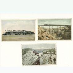 3 Postcards Harvey Railroad Train Vintage Postally Unused Fred Harvey