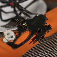 black cat halloween napkin rings