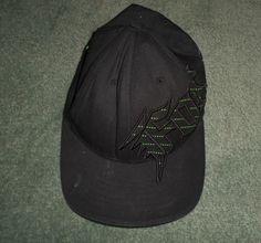Youth Boys Black & Green FOX Large Logo Embroidered Hat, One Size FLEXFIT, GUC!  #FOX #BaseballCapHat