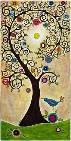 karla gerard art: Swirl Tree and Bird Painting by Karla G Tree Of Life Art, Tree Art, Karla Gerard, Button Art, Naive Art, Whimsical Art, Painting Inspiration, Art Lessons, Folk Art