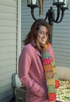 Homespun instructions and pattern for quilted ragged scarf.