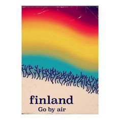 Finland retro vacation 'rainbow' poster print. - retro posters classy cool vintage