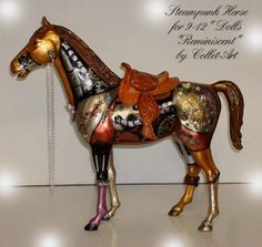 "collage barbie horse | 2011 STEAMPUNK HORSE OOAK ALTERED ART ""REMINICSENT"""