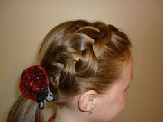 For more hair ideas visit http://princesshairstyles.com    This is a fun french braid hairstyle idea.  How to make a regular dutch braid or inside out frenchbraid unique, loose and loopy by stretching it out and messing it up.  :) Cute hairstyle for girls, teens and tweens.  Quick and easy hair style for school or other occasions.  I love the lo...