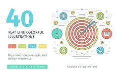 40 Flat line concepts by Vasya Kobelev on @creativemarket