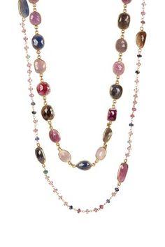 Natural Sapphire Station Necklace Set