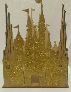 Gold princess wood castle perfect for pink and gold birthday party or Baby shower. Gold Cinderella birthday party