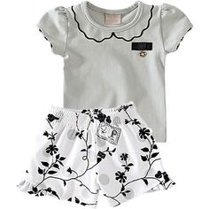 Conjunto Infantil de Menina com Shorts Estampado Cinza - Milon :: 764 Kids   Roupa bebê e infantil