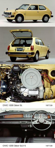 First generation Honda Civic facelift Honda Civic 1995, Honda Civic Coupe, Classic Japanese Cars, Classic Cars, Yellow Car, Car Museum, Honda Cars, Transporter, Mitsubishi Lancer Evolution