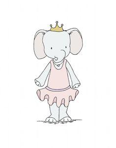 Elephant Nursery Art -- Elephant Princess -- Girl Nursery Decor -- Pink Elephant Art -- Children Art Print, Kids Wall Art