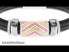 How to Add a Peyote Stitch Bead to Regaliz® Leather Alternative Bracelets - YouTube