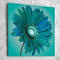 peinture sur toile artisanale en bleu au motif fleur