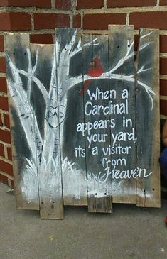 Cardinal pallet sign. would be cute to make for a Christmas present