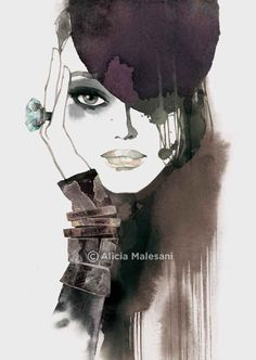 Fashion Illustration Portrait with hat - 8 x 11.5 (for sale by aliciamalesaniart)