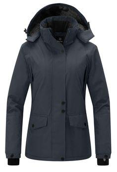 Wantdo Women s Waterproof Warm Snow Jacket Hooded Cotton Padded Winter  Outwear Raincoat Windbreaker for Skiing(Dark Grey 9d10b22ff