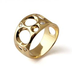BUBBLES Unique Gold Ring, 14k Yellow Gold Diamond Ring, Contemporary Gold Ring, Geometric Ring