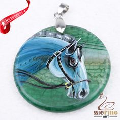 Hand Painted Horse Agate Slice Gemstone Necklace Pendant Jewlery D1705 1337 #ZL #Pendant