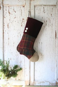 Tartan Plaid Christmas STOCKING with Pocket, Suede