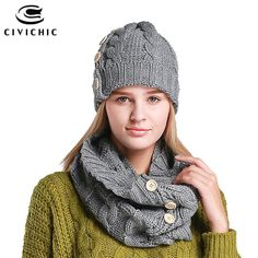 24262b7d22c 2016 New Hand Crochet Beanie Women Knitted Hat Scarf Set Thick Warm Scarf  Ring Designer Winter Hats With Pom Pom Button Beanie
