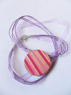 ciondolo cerchio rosa viola lilla legno matite glossy di BluanneColorWood su Etsy