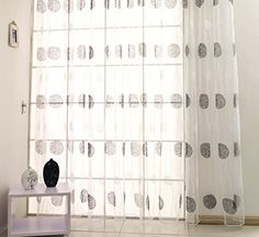 AmazonSmile: ElleWeiDeco Decorative Modern Embroidered Dandelion Sheer Window Curtains/drape/panel (95'', 84'' or 63'') (Black & White, 52Wx84L Sheer): Kitchen & Dining
