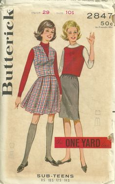 Butterick 2847 1960s Quick N Easy Sub Teen Skirts by mbchills