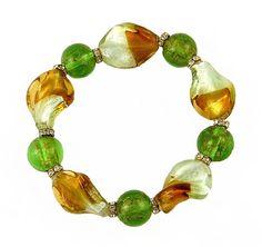 Stretch Glass Twist Bead Bracelet - Green, Golden and White (B61)