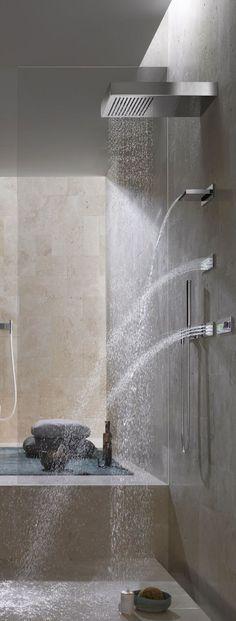 The overhead spray along with the unique side sprays make this a great shower. For cleaning and maintaining the stone surfaces in your bath, please call us on: 1800 627 626.