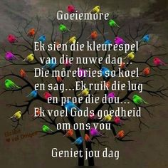Good Morning Good Night, Good Morning Wishes, Day Wishes, Lekker Dag, Evening Greetings, Goeie More, Scripture Verses, Afrikaans, Inspirational Quotes