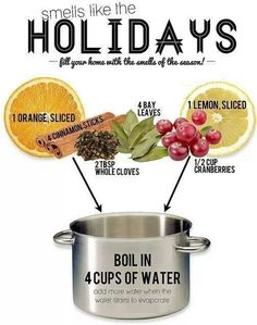 Holiday aromas to make the whole house smell good! Christmas Scents, Noel Christmas, All Things Christmas, Winter Christmas, Christmas Kitchen, Christmas Place, Natural Christmas, Homemade Christmas, Smell Of Christmas