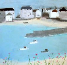 hannah cole: bobbing along with harbour wall Brighton Uk, Yellow Houses, Z Arts, Sand Art, Fishing Villages, Little Houses, Home Art, Seaside, Paths