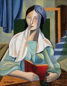 Florence lendo, 1965 Bela de Kristo ( Hungria, 1920-2006) óleo sobre tela, 28 x 24 cm