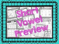 Short Vowel Packet! Only $2!! Has over 70 pages! Great!!