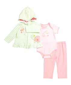 Take a look at this Buster Brown Candy Pink & Patina Green Stripe Butterfly Hoodie Set - Infant today!